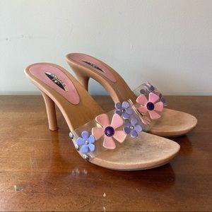 Bumper Pink, Purple Flowers Strap High Heels 9